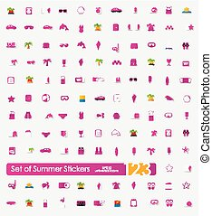Set of summer stickers