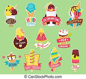 Set of summer stickers in shape of ice-cream flat vector illustration isolated.