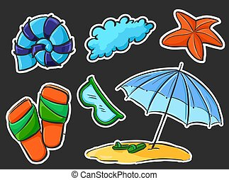 Set of summer stickers - on the beach