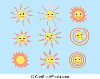 Set of Summer Sun Face with Happy Smile