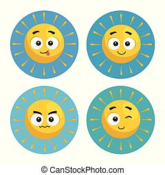 set of summer sun faces cartoon