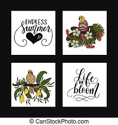 Set of summer tropical postcards with detailed tropical illustrations and handdrawn lettering quotes.