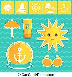 Set of summer vacation beach. Umbrella sun ship sailing...