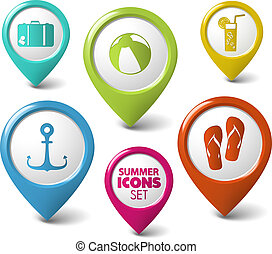 Set of summer vector round 3D pointers