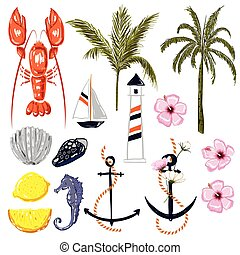 Set of summer vibes lobster,shell,ship,coconut and palm trees ,lemon,hibiscus flowers in hand drawing style for summer