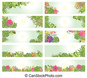 Set of summery horizontal banners