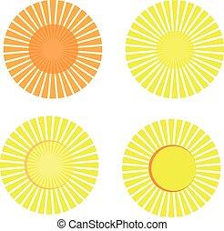 Set of sun icon isolated on white background