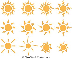 Set of sun icons in many style,