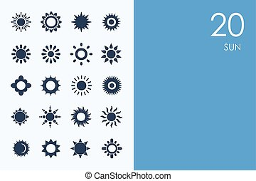 Set of sun icons - sun vector set of modern simple icons