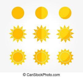 Set of sun icons.