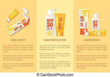 Set of Sun Safety, Protection, Sunscreen Posters - Set of...