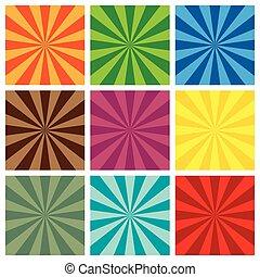 set of Sun Sunburst retro Pattern