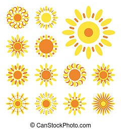 Set of sun vector icons