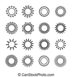 Set of sun web icons,symbol,sign in flat style. Suns collection. Elements for design. Vector illustration.