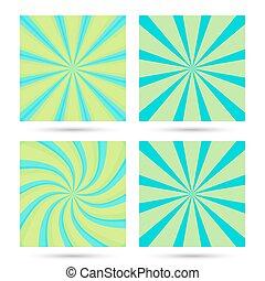 Set of sunburst and swir. - Set of sunburst and swirl radial...