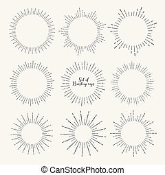 Set of sunburst style isolated on white background, Bursting rays vector illustration.