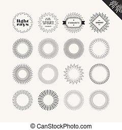 Set of sunburst vintage design elements