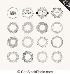 Set of sunburst vintage design elements