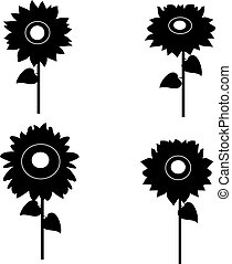 set of sunflowers silhouette