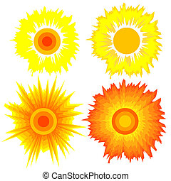 Set of suns. Elements for design.