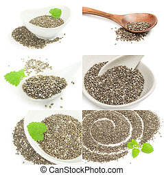 Set of superfood chia seeds on a white background cutout