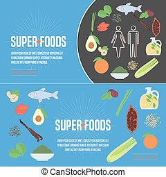 Set of superfoods products, berries, fruits in vector