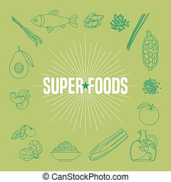 Set of superfoods products, berries, fruits, vegetables in vector