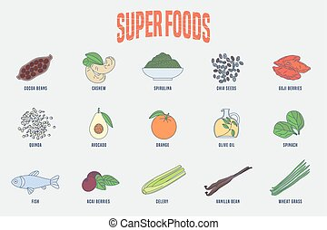 Set of superfoods products, berries, green in vector