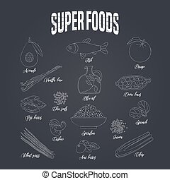 Set of superfoods products, berries, green on blackboard in vector