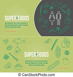 Set of superfoods products, berries, roots in vector. Icons,...
