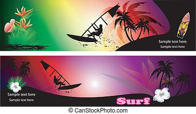 set of surf banner