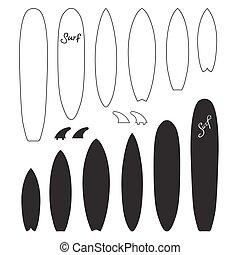 Set of Surf boards. Vector Illustration