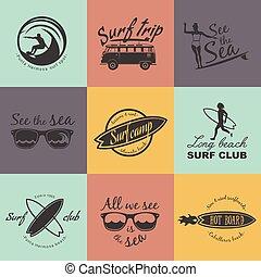 Set of Surf logo and emblem. Surf summer t-shirt design....