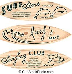 set of surf logos