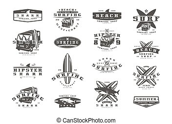 Set of surfing emblems. Graphic design for t-shirt