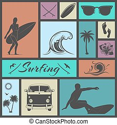 Set of surfing icons