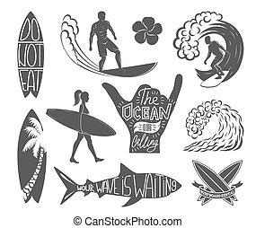 Set Of Surfing Vintage Design Elements Surf Logo Vector Illustration Surfboard Logotypes Retro