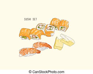 set of sushi , japanese food . hand drawn water color sketch vector.