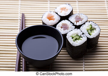 Japanese sushi seafood rolls with rice