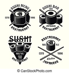 Set of sushi vector emblems