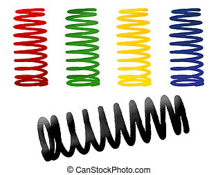 set of suspension in red, green, yellow, blue and black -...