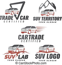 Set of SUV car service logo templates. Automotive repair and service theme concept. Rental Car Logo Template Design Vector. Isolated modern suv front and side view.