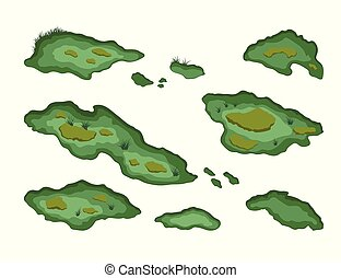 Set of swamps in isometric style. Isolated image of forest marsh. 3d landscape with cartoon fens
