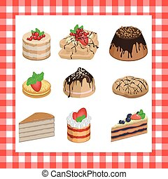Set of sweet appetizing cakes on a red plaid background
