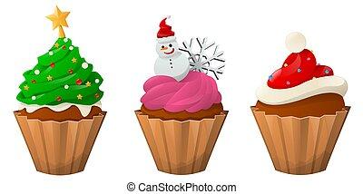 Set of sweet Christmas cupcakes