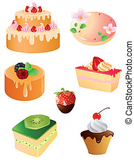 set of sweet dessert and fruit icons