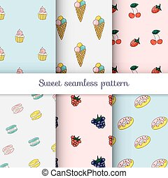 Set of sweet patterns. Collection of seamless backgrounds with ice cream, cherries, strawberries, cream cupcake, macaroons and donuts. Vector illustration.
