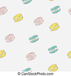 Set of sweet patterns. Seamless backgrounds with macaroons. Vector illustration.