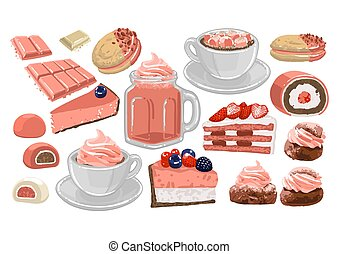 Set of sweet strawberry drinks and pastries