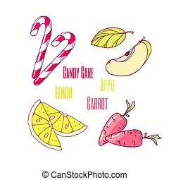Set of sweet toppings candy cane, apple, lemon and carrot. Hand drawn food